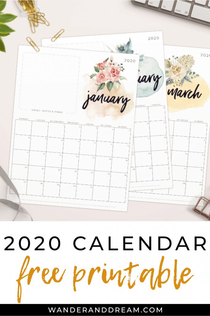 free 2020 printable calendar with watercolour floral artwork
