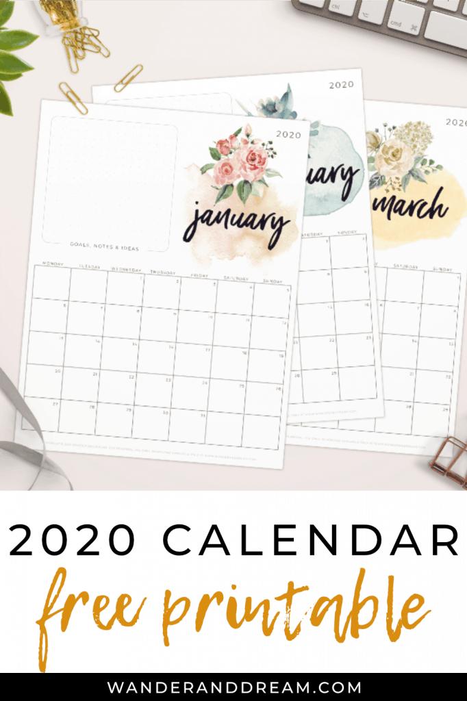 free 2020 printable calendar with watercolour floral artwork