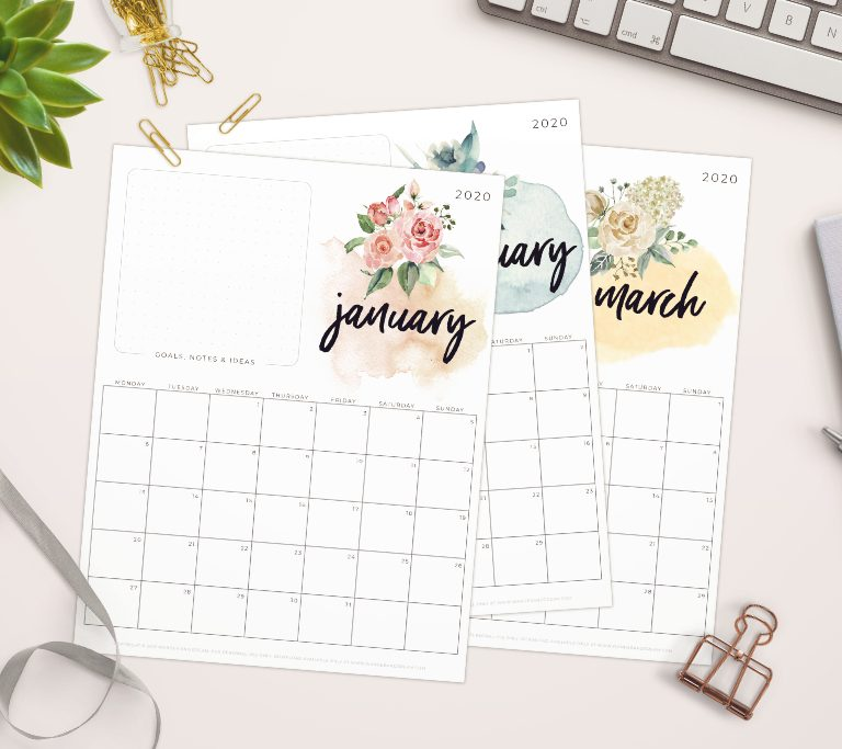 Free printable 2020 calendars with watercolor florals
